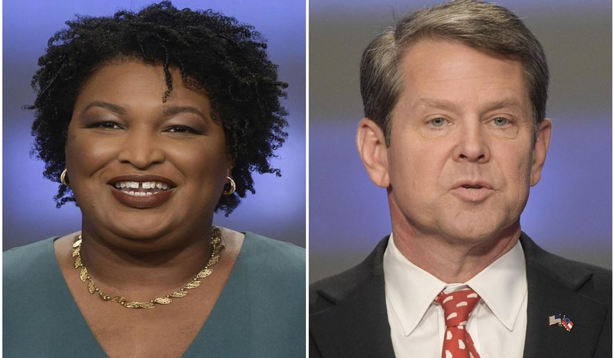 This combination of May 20, 2018, file photos shows Georgia gubernatorial candidates Stacey Abrams, left, and Brian Kemp in Atlanta. The final stretch of the hotly contested Georgia governor's race is being consumed by a bitter political battle over access to the polls. Secretary of State Brian Kemp, the Republican gubernatorial candidate, says that Democrat Stacey Abrams is fighting for immigrants without legal status to cast ballots in the Nov. 6 election. Abrams' campaign says that's untrue and Kemp is trying to deflect from his own record of making it harder for legal citizens to vote. (AP Photos/John Amis, File)