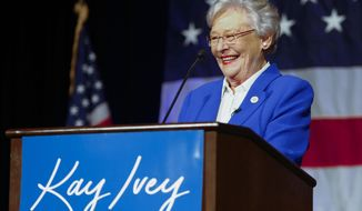 FILE - In this June 5, 2018, file photo, Alabama Gov. Kay Ivey speaks to supporters at her watch party after winning the Republican nomination for governor at a hotel in Montgomery, Ala. The health of the 74-year-old Republican governor has become a periodic issue in the state's gubernatorial race. (AP Photo/Butch Dill, File)