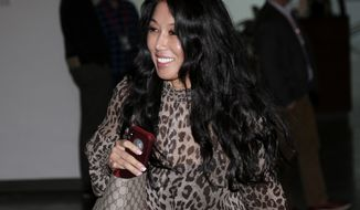 Buffalo Bills owner Kim Pegula arrives for the NFL football fall meetings in New York, Tuesday, Oct. 16, 2018. (AP Photo/Seth Wenig)