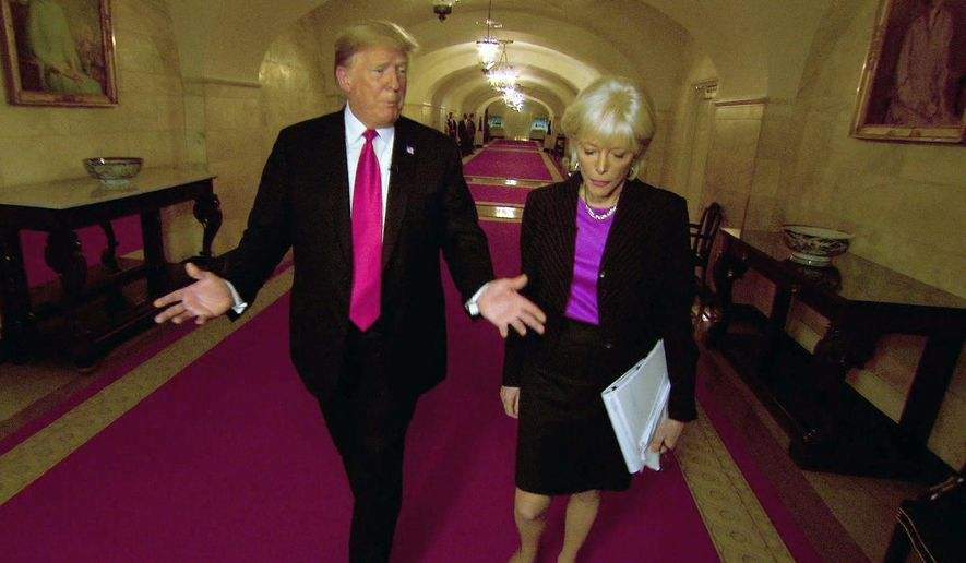 "This image taken from video provided by CBS shows President Donald Trump, left, with Lesley Stahl during the taping of an interview for ""60 Minutes"" that aired on Sunday, Oct. 14, 2018.  President Trump reached 11.7 million viewers for his ""60 Minutes"" interview on Sunday or just over half the audience that Stormy Daniels had on the CBS newsmagazine last spring.(CBS via AP)"