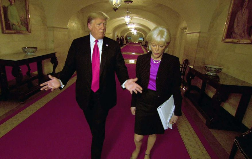 """This image taken from video provided by CBS shows President Donald Trump, left, with Lesley Stahl during the taping of an interview for """"60 Minutes"""" that aired on Sunday, Oct. 14, 2018.  President Trump reached 11.7 million viewers for his """"60 Minutes"""" interview on Sunday or just over half the audience that Stormy Daniels had on the CBS newsmagazine last spring.(CBS via AP)"""