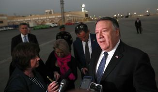 U.S. Secretary of State Mike Pompeo talks to the media before leaving Riyadh, Saudi Arabia Wednesday, Oct. 17, 2018. (Leah Millis/Pool Photo via AP)