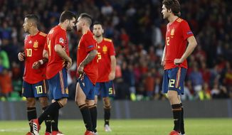 Spain's players react after the UEFA Nations League soccer match between Spain and England at Benito Villamarin stadium, in Seville, Spain, Monday, Oct. 15, 2018. England won 3-2. (AP Photo/Miguel Morenatti)