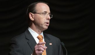 Deputy Attorney General Rod Rosenstein speaks at the federal inspector general community's 21st annual awards ceremony, Wednesday, Oct. 17, 2018, in Washington. (AP Photo/Alex Brandon) ** FILE **