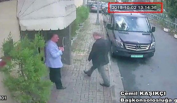 This image taken from CCTV video obtained by the Turkish newspaper Hurriyet and made available on Tuesday, Oct. 9, 2018 claims to show Saudi journalist Jamal Khashoggi entering the Saudi consulate in Istanbul, Tuesday, Oct. 2, 2018. Turkey said Tuesday it will search the Saudi Consulate in Istanbul as part of an investigation into the disappearance of a missing Saudi contributor to The Washington Post, a week after he vanished during a visit there. (CCTV/Hurriyet via AP)