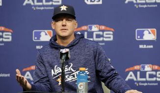 Houston Astros manager AJ Hinch speaks during a news Monday, Oct. 15, 2018, in Houston. The Astros will face the Boston Red Sox in Game 3 of the baseball American League Championship Series Tuesday Oct. 16 2018. (AP Photo/Frank Franklin II)