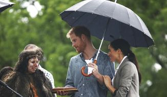 Britain's Prince Harry and Meghan, Duchess of Sussex attend a community picnic at Victoria Park in Dubbo, Australia, Wednesday, Oct. 17, 2018. Prince Harry and his wife Meghan are on day two of their 16-day tour of Australia and the South Pacific. (Ian Vogler/Pool via AP)