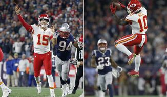 FILE - At left, in an Oct. 14, 2018, file photo, Kansas City Chiefs quarterback Patrick Mahomes (15) throws a touchdown pass to wide receiver Tyreek Hill during the second half of an NFL football game against the New England Patriots, in Foxborough, Mass. At right, also in an Oct. 14, 2018, file photo, Kansas City Chiefs wide receiver Tyreek Hill (10) catches a pass that he ran in for a touchdown during the second half of an NFL football game against the New England Patriots, in Foxborough, Mass. Montana to Rice. Manning to Harrison. There have been plenty of memorable quarterback-to-wide receiver combinations over the years. Patrick Mahomes to Tyreek Hill might be next. (AP Photo/Michael Dwyer, Files)