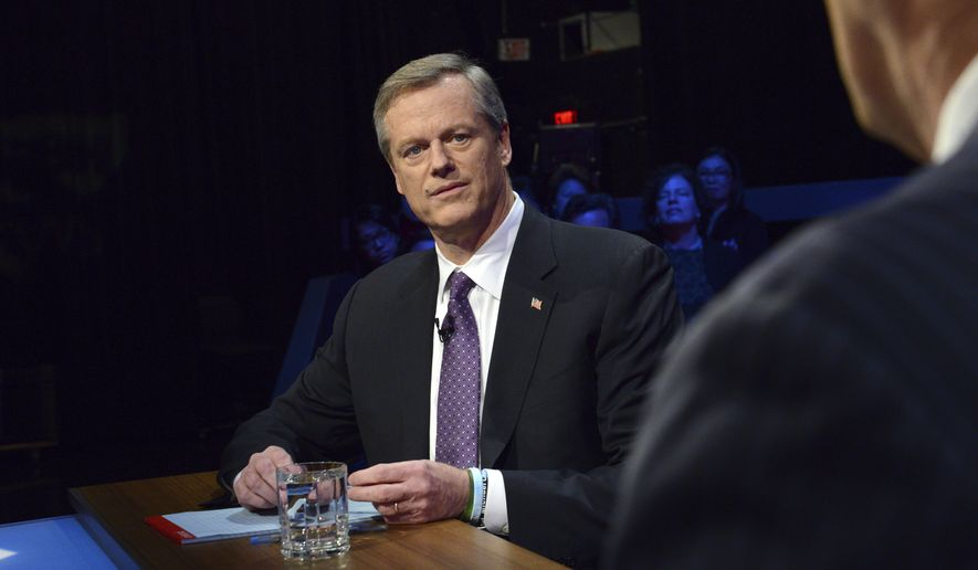 Republican Massachusetts Gov. Charlie Baker facing Democratic challenger Jay Gonzalez during a debate at the studios of WBGH-TV in Boston, Wednesday Oct. 17, 2018. (Meredith Nierman/WGBH-TV via AP, Pool)