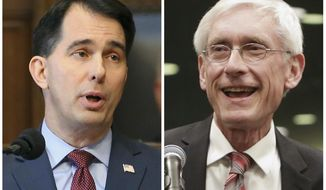 FILE - This combination of file photos shows Wisconsin Republican Gov. Scott Walker, left, and his Democratic challenger Tony Evers in the 2018 November general election. Walker, who is seeking a third term, has been working for years to repeal Obama's health care law and signed off on the state attorney general joining the lawsuit against it. But earlier this year, Walker called for a state law that would bar insurers from denying a person health coverage due to a pre-existing condition. Evers, his Democratic rival, launched an ad calling on Walker to drop his support for the lawsuit. (Wisconsin State Journal via AP, File)