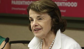 FILE -- In this Thursday, May 31, 2018, file photo is U.S. Sen. Dianne Feinstein in Sacramento, Calif. Feinstein who is seeking her fifth full term in the U.S. Senate, will face off against her Democratic challenger, state Sen. Kevin de Leon, in a debate hosted by the Public Policy Institute of California Wednesday, Oct. 17, in San Francisco. (AP Photo/Rich Pedroncelli, File)