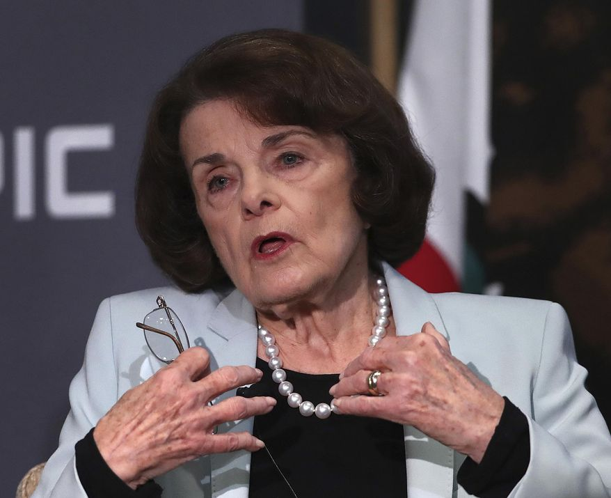 California Sen. Dianne Feinstein, D-Calif., gestures while speaking to California Sen. Kevin de Leon, D-Los Angeles, during a debate on Wednesday, Oct. 17, 2018, in San Francisco. Feinstein shared the stage with an opponent for the first time since 2000 when she debated state Sen. Kevin de Leon. The two Democrats are facing off in the Nov. 6 election. (AP Photo/Ben Margot) **FILE**