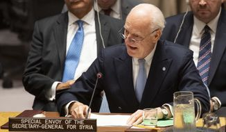 """United Nations special envoy Staffan de Mistura speaks at a Security Council meeting, Wednesday, Oct. 17, 2018 at U.N. headquarters. He said he will be making an intensive effort to get agreement on a committee to draft a new constitution for Syria before he steps down at the end of November. De Mistura announced he is departing for """"purely, purely personal reasons"""" after four years and four months in one of the toughest U.N. jobs after telling the Security Council that objections by the Syrian government are still holding up the launch of the committee. (Eskinder Debebe/UN via AP)"""