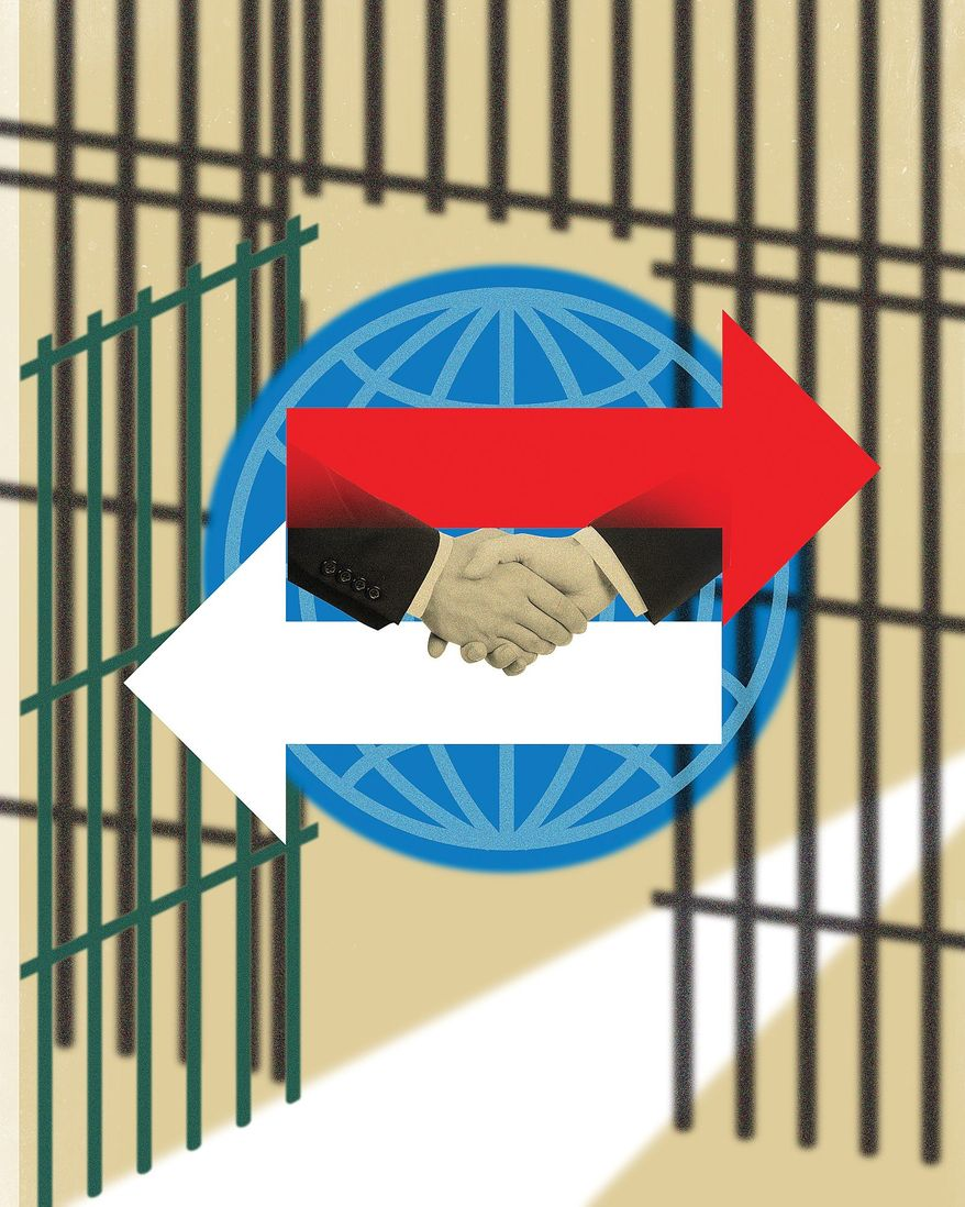Illustration on diplomacy and the release of Pastor Andrew Brunson by Linas Garsys/The Washington Times