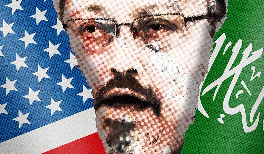 Illustration on difficulties between the U.S. and Saudi Arabia over the Khasoggi affair by Greg Groesch/The Washington Times