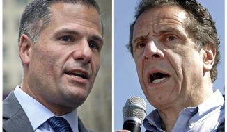 FILE - In this combination photo, New York Republican gubernatorial candidate Marc Molinaro, left, speaks at a news conference in New York on Sept. 14, 2018, and New York Gov. Andrew Cuomo, right, speaks a news conference in in Tarrytown; N.Y., on May 8, 2018. Cuomo is balking at requests to debate his opponents, potentially leaving New Yorkers without the chance to see the candidates for governor face each other before the Nov. 6 election. Molinaro had asked for a one-on-one debate with the two-term incumbent, and three third-party candidates had pushed for a more inclusive exchange. (AP Photos/Bebeto Matthews, left, and Julio Cortez, Files)