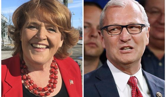 FILE - This combination of file photos shows the candidates for the U.S. Senate from North Dakota from left, incumbent Democratic Sen. Heidi Heitkamp and her Republican challenger Kevin Cramer. Heitkamp is sharpening her attacks on Cramer on the tariffs issue, with a new ad out Friday, Sept. 14, 2018, that blames her opponent for not opposing tariffs that Heitkamp says are badly damaging North Dakota farmers.(AP Photo/File)