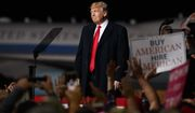 President Donald Trump looks the the cheering audience as he leaves a campaign rally at Minuteman Aviation Hangar, Thursday, Oct. 18, 2018, in Missoula, Mont. (AP Photo/Carolyn Kaster)