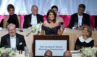 Keynote speaker Ambassador to the United Nations Nikki Haley addresses the 73rd Annual Alfred E. Smith Memorial Foundation Dinner Thursday, Oct. 18, 2018, in New York. (AP Photo/Craig Ruttle)