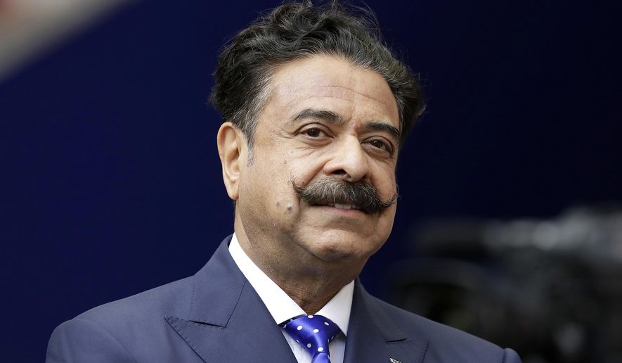 FILE - In this file photo dated Sunday Sept. 24, 2017, American sports magnate Shad Khan owner of England's Premier League soccer team Fulham, at Wembley Stadium in London.  Khan has something else to worry about aside from the collapse of his plans to buy Wembley Stadium, as his Fulham soccer team is struggling in its first season back in the top division with a five-match winless run. (AP Photo/Matt Dunham, FILE)
