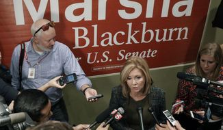 Republican Senate hopeful Marsha Blackburn answers questions during a campaign stop Wednesday, Oct. 17, 2018, in Franklin, Tenn. Wednesday is the first day of Tennessee's early voting. (AP Photo/Mark Humphrey)
