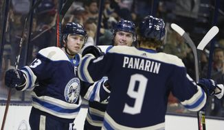 Columbus Blue Jackets' Cam Atkinson, left, celebrates his goal against the Philadelphia Flyers with teammates Ryan Murray, center, and Artemi Panarin, of Russia, during the second period of an NHL hockey game Thursday, Oct. 18, 2018, in Columbus, Ohio. (AP Photo/Jay LaPrete)