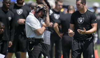In this Aug. 18, 2018 photo Oakland Raiders quarterback Derek Carr, right, speaks with head coach Jon Gruden during the first half of an NFL preseason football game against the Los Angeles Rams in Los Angeles. Carr's career was on a clear upward trajectory his first three seasons before a broken leg in the second-to-last game in 2016 ended his season and any hopes the Oakland Raiders had of competing in the playoffs that year. The leg took a few months to heal but Carr hasn't been the same quarterback since then, even with the coaching change that brought Gruden to Oakland. (AP Photo/Kelvin Kuo)