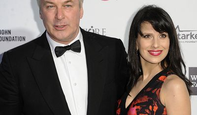 Alec Baldwin, born 1958 and Hilaria Thomas, born 1984, Age Difference: 26 years                             Alec Baldwin, left, and Hilaria Thomas arrive at the 87th Academy Awards - 2015 Elton John AIDS Foundation Oscar Party on Sunday, Feb. 22, 2015, in West Hollywood, Calif. (Photo by Richard Shotwell/Invision/AP)