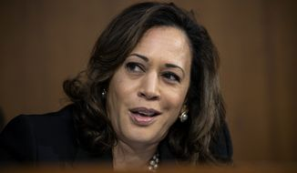 Sen. Kamala Harris, D-Calif., speaks during the confirmation hearing of President Donald Trump's Supreme Court nominee, Brett Kavanaugh, on Capitol Hill in Washington, in this Sept. 4, 2018 file photo. Harris is making her debut in South Carolina as a potential presidential candidate and women are thanking the California senator for her role in the Supreme Court confirmation fight over Justice Brett Kavanaugh. (AP Photo/J. Scott Applewhite) ** FILE **