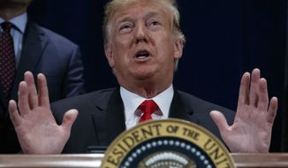 """President Donald Trump speaks during a ceremony to sign a """"Presidential Memorandum Promoting the Reliable Supply and Delivery of Water in the West,"""" Friday, Oct. 19, 2018, in Scottsdale, Ariz.. (AP Photo/Carolyn Kaster)"""