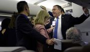 Secretary of State Mike Pompeo speaks with reporters in his plane while flying from Panama to Mexico, Thursday, Oct. 18, 2018.  (Brendan Smialowski/Pool Image via AP)
