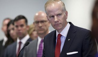 FILE - In this Aug. 29, 2018, file photo, U.S. Attorney William McSwain is shown at a news conference in Philadelphia. McSwain sent out grand jury subpoenas last week to Pennsylvania dioceses as part of a federal investigation of clergy abuse in Catholic churches. The investigation, which follows a state grand jury probe, was confirmed by multiple sources who spoke to The Associated Press on condition of anonymity. McSwain wouldn't comment. (David Maialetti/The Philadelphia Inquirer via AP, File)