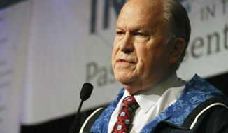 Alaska Gov. Bill Walker announces he will drop his re-election bid while addressing the Alaska Federation of Natives conference Friday, Oct. 18, 2018, in Anchorage, Alaska. Walker's re-election plans were dealt a blow earlier in the week after his running mate, Lt. Gov. Byron Mallott, resigned after making an inappropriate overture toward a woman. (AP Photo/Mark Thiessen)