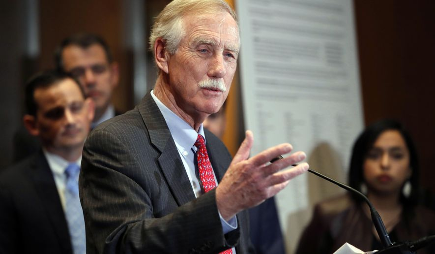 FILE- In this Feb. 7, 2018 file photo Sen. Angus King, I-Maine, speaks about immigration on Capitol Hill in Washington. King, a former governor of Maine, caucuses with the Democrats and has a track record as a political moderate. He is being challenged by a Eric Brakey, a Libertarian-leaning Republican, and Zak Ringelstein, a member of the Democratic Socialists of America. (AP Photo/Jacquelyn Martin, file)