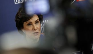 Rep. Jacky Rosen, D-Nev., speaks with the media after a U.S. Senate debate with Sen. Dean Heller, R-Nev., Friday, Oct. 19, 2018, in Las Vegas. (AP Photo/John Locher)