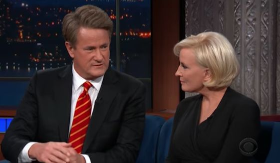 MSNBC host Joe Scarborough told comedian Stephen Colbert that he doesn't believe President Trump will run for reelection in 2020. (CBS) ** FILE **