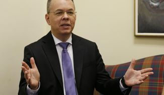 Pastor Andrew Brunson speaks during an interview at the headquarters of Christian Broadcasting Network in Virginia Beach, Va., Friday, Oct. 19, 2018. Brunson was recently released from prison in Turkey. (AP Photo/Steve Helber)