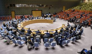 In this photo provided by the United Nations, the United Nations Security Council meets on the situation in Mali, Friday, Oct. 19, 2018 at U.N. Headquarters. The U.N. has asked the government of Sri Lanka to immediately repatriate the commander of the country's 200-person contingent in the U.N. peacekeeping force in Mali following a review of his human rights background. (Manuel Elias/The United Nations via AP)