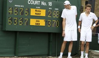 FILE - This June 24, 2010, file photo shows John Isner of the U.S. and France's Nicolas Mahut, right, posing for a photo next to the scoreboard following their record-breaking men's singles match at the All England Lawn Tennis Championships at Wimbledon. The All England Club said Friday Oct. 19, 2018, it will introduce fifth-set tiebreakers at Wimbledon next year when a match reaches 12-12. (AP Photo/Alastair Grant, Pool, File)