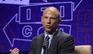"Michael Avenatti participates in the ""How To Beat Trump: Kathy Griffin Interviews Michael Avenatti"" panel at Politicon at the Los Angeles Convention Center on Saturday, Oct. 20, 2018, in Los Angeles. (Photo by Willy Sanjuan/Invision/AP)"
