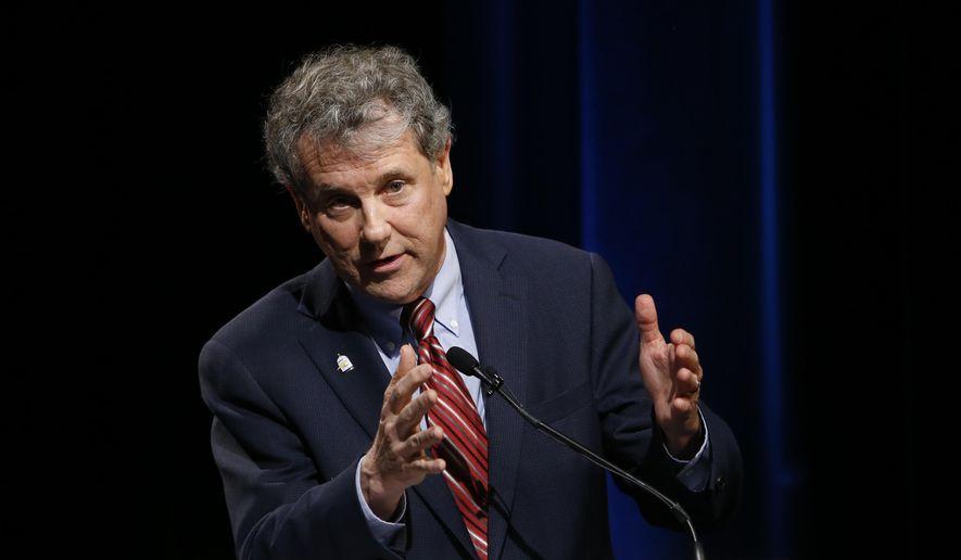 Sen. Sherrod Brown, D-Ohio, answers questions during the U.S. Senate debate Saturday, Oct. 20, 2018, in Columbus, Ohio. (AP Photo/Jay LaPrete, Pool) ** FILE **