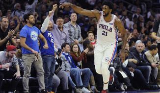 Philadelphia 76ers' Joel Embiid (21) celebrates after scoring on a 3-point basket in the first half of an NBA basketball game against the Orlando Magic, Saturday, Oct. 20, 2018, in Philadelphia. (AP Photo/Michael Perez)