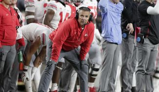 Ohio State head coach Urban Meyer watches from he sideline during the first half of an NCAA college football game against Purdue in West Lafayette, Ind., Saturday, Oct. 20, 2018. (AP Photo/Michael Conroy) **FILE**