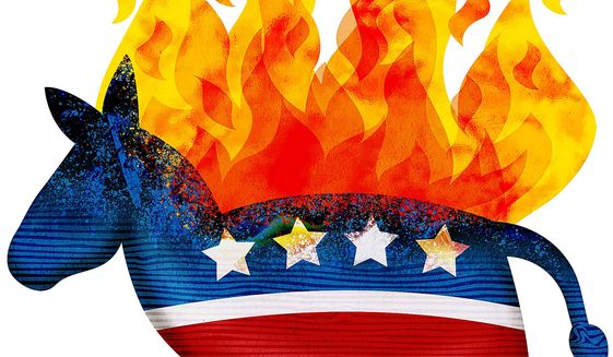 Self-Immolation of the Democrats Illustration by Greg Groesch/The Washington Times