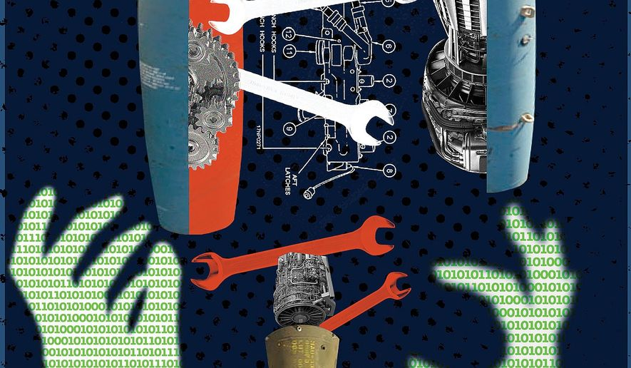 Illustration on cyber vulnerabilities in U.S. weapons systems by Linas Garsys/The Washington Times