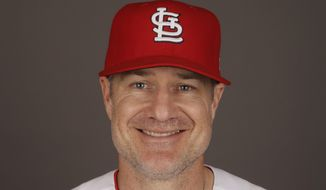 FILE - This 2017 file photo shows David Bell of the St. Louis Cardinals. Bell has been hired as manager of the Cincinnati Reds, tasked with helping turn around a team that skidded to a 67-95 record and last-place finish in the NL Central. The Reds said Sunday, Oct. 21, 2018, he has been given a three-year contract that includes a team option for 2022. (AP Photo/David J. Phillip, File) **FILE**