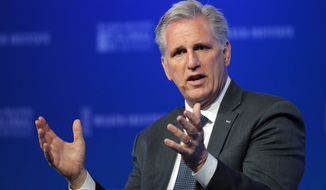 FILE - In this Monday, April 30, 2018 file photo, House Majority Leader Kevin McCarthy, R-Calif., speaks at the Milken Institute Global Conference in Beverly Hills, Calif. Republicans are fighting to hold their ground in strongly Democratic California. Party delegates are meeting in San Diego this weekend to consider endorsements for candidates seeking statewide offices that are all held by Democrats. The outlook is challenging. (AP Photo/Jae C. Hong, File)