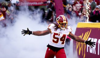 Washington Redskins linebacker Mason Foster (54) takes the field before an NFL football game against the Dallas Cowboys Sunday, Oct. 21, 2018, in Landover, Md. (AP Photo/Andrew Harnik) **FILE**
