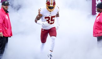 Washington Redskins strong safety Montae Nicholson (35) takes the field before an NFL football game against the Dallas Cowboys Sunday, Oct. 21, 2018, in Landover, Md. (AP Photo/Andrew Harnik) ** FILE **
