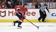 Washington Capitals center Nicklas Backstrom (19), of Sweden, skates with the puck during the third period of an NHL hockey game against the Florida Panthers, Friday, Oct. 19, 2018, in Washington. The Panthers won 6-5 in a shootout. (AP Photo/Nick Wass) ** FILE **